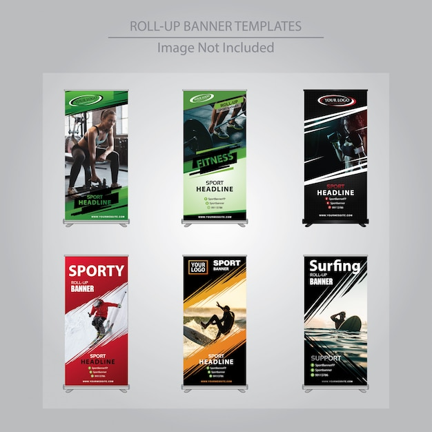 6 set sport roll up banner design templates Vetor Premium
