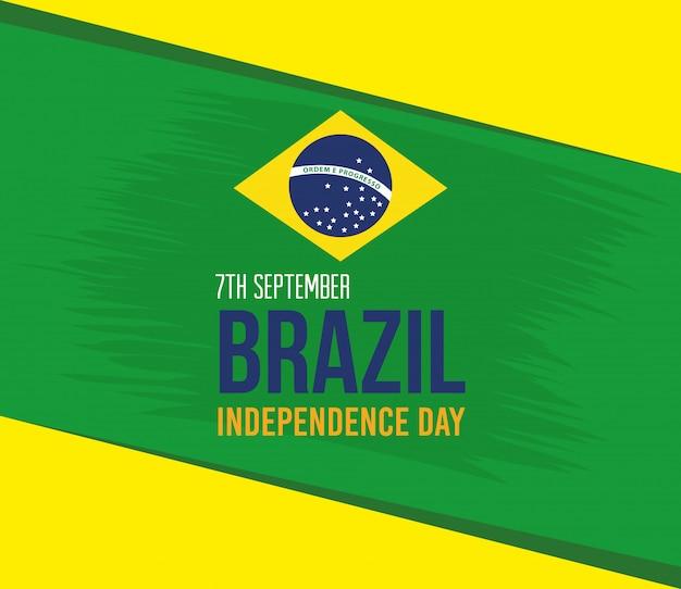 7 de setembro, celebração da independência do brasil, bandeira emblema decoração vector ilustração design Vetor Premium