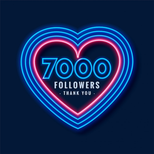 7000 seguidores obrigado fundo em estilo neon Vetor grátis