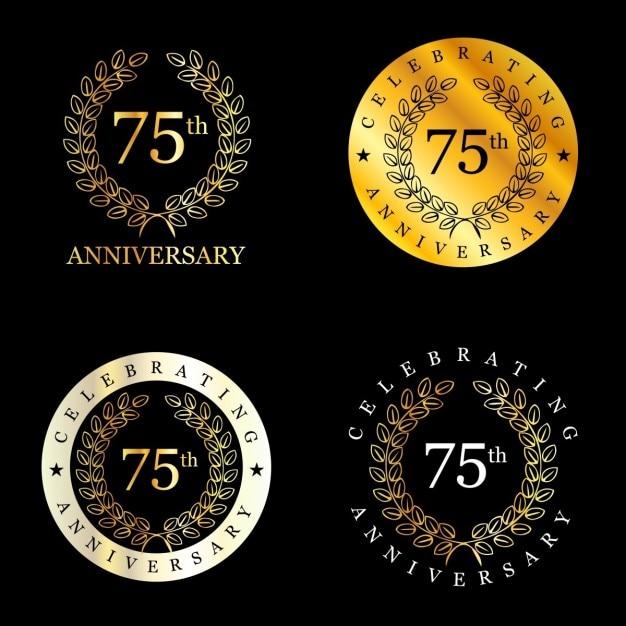 75 anos comemorando a coroa de louros Vetor grátis