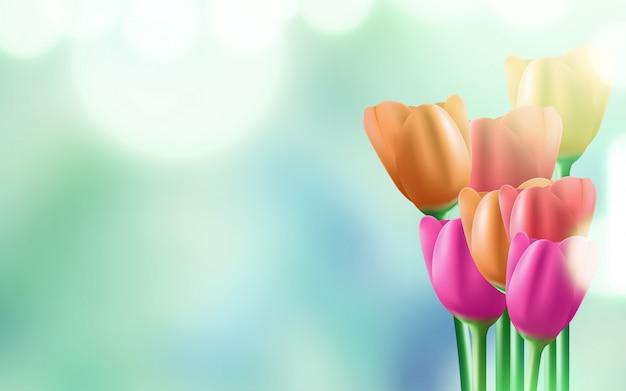 8 de março de fundo do dia internacional da mulher com flores. Vetor Premium