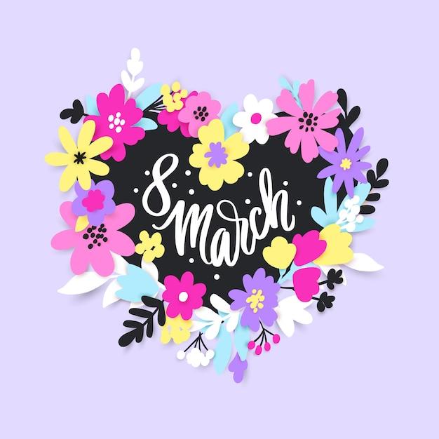 8 de março. feliz dia da mulher cartão com flores e folhas em papel cortado estilo. Vetor Premium