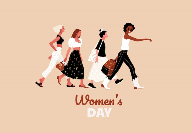 8 de março. felizes e sexy meninas ou mulheres caminhando juntos Vetor Premium