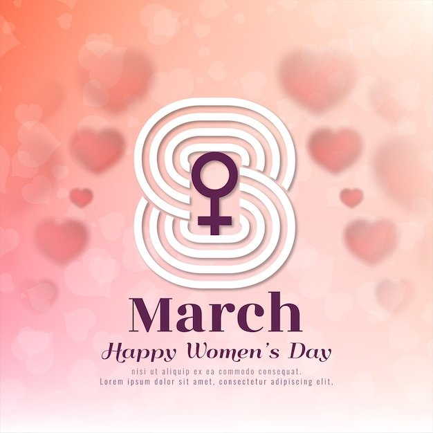 8 de março símbolo feliz dia da mulher fundo Vetor grátis