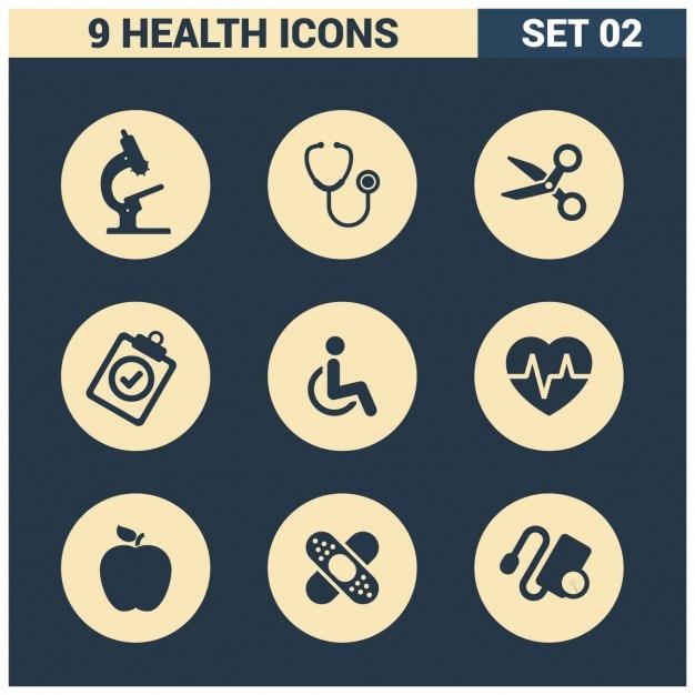 9 ícones da saúde Vetor grátis