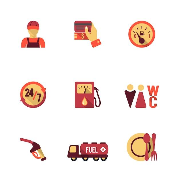 9 ícones do posto de gasolina Vetor grátis