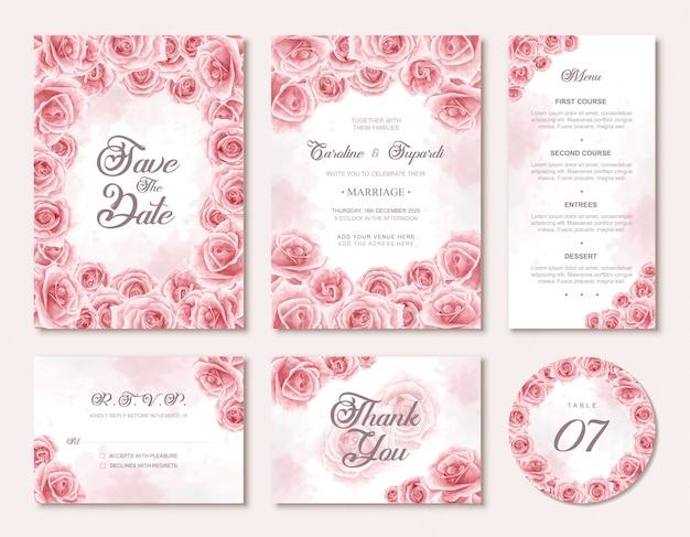 A aguarela floresce o cartão do convite do casament Vetor Premium