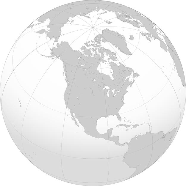 A américa do norte é um continente inteiramente dentro do hemisfério norte e quase todo dentro do hemisfério ocidental Vetor Premium