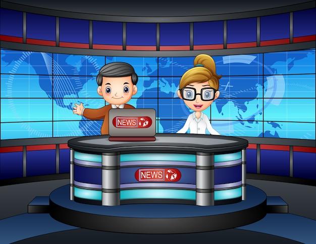 A âncora de notícias viveu na televisão Vetor Premium