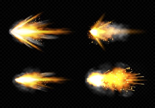 A arma pisca com fogo e fumaça. conjunto de tiros de pistola Vetor grátis