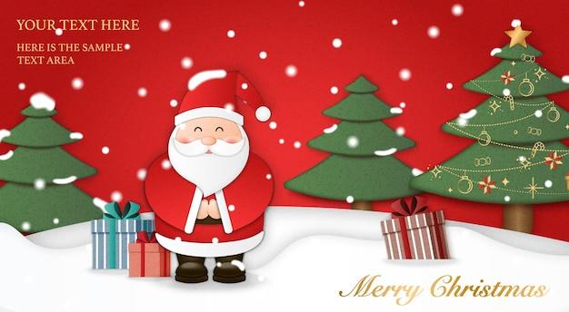 A arte em papel relevo do papai noel apresenta presentes com fundo de terra de neve de árvore de natal. feliz natal e feliz ano novo, ilustração. Vetor Premium