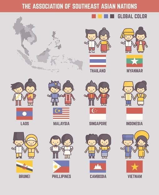 A associação de nações do sudeste asiático Vetor Premium