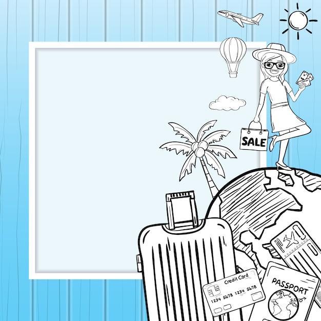 A bagagem e os acessórios dos desenhos animados da mulher da garatuja viajam em torno do fundo do verão do conceito do mundo Vetor Premium