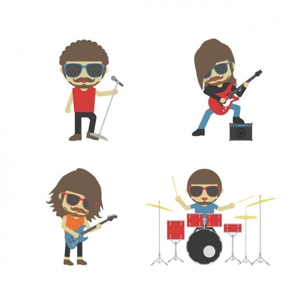 A banda de rock tocando instrumentos Vetor grátis
