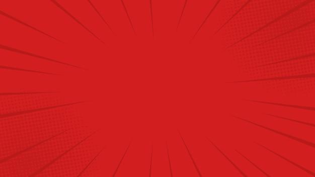 A banda desenhada irradia o fundo vermelho com meios-tons. no estilo retrô pop art para livro de quadrinhos, cartaz, design de publicidade Vetor Premium