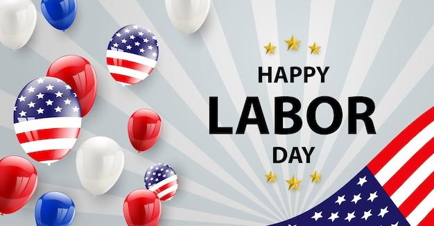 A bandeira americana do projeto de cartão do dia do trabalhador balloons o fundo. Vetor Premium