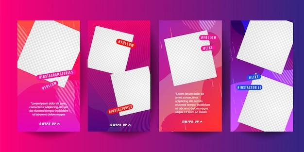 A bandeira gráfica moderna abstrata colorida ajusta-se para histórias Vetor Premium