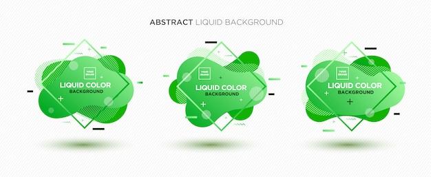 A bandeira líquida abstrata moderna do vetor ajustou-se em cores verdes. Vetor Premium