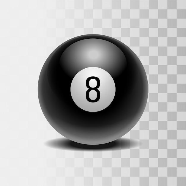 A bola mágica de previsões para a tomada de decisões. bola preta realista com número oito Vetor Premium