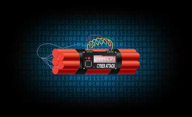 A bomba de tempo do vírus wannacry está entre o código binário azul Vetor Premium