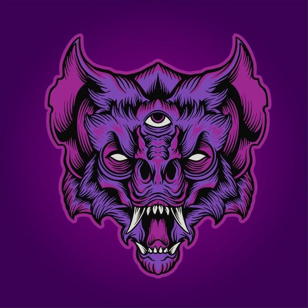 A cabeça de morcego Vetor Premium