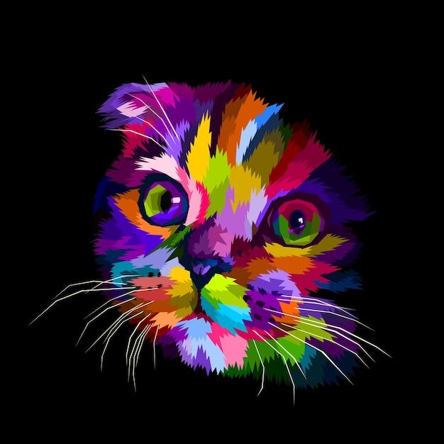 A cabeça do gato da dobra escocesa é colorida no escuro Vetor Premium