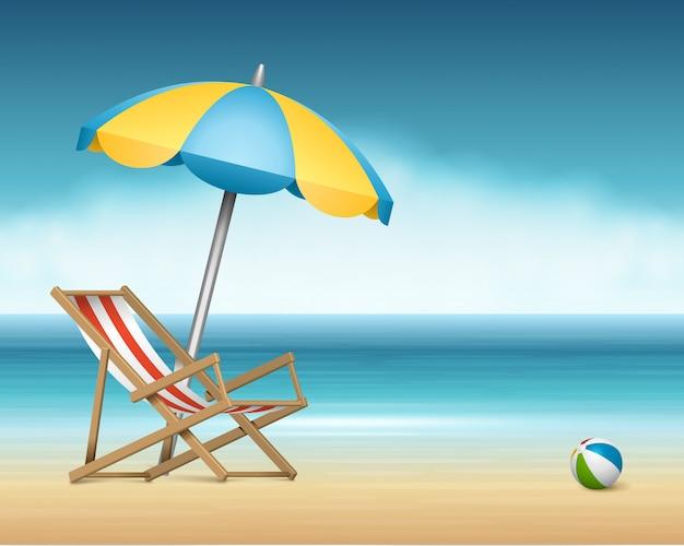 A cadeira e o guarda-chuva da espreguiçadeira do verão na praia vector a ilustração. Vetor Premium