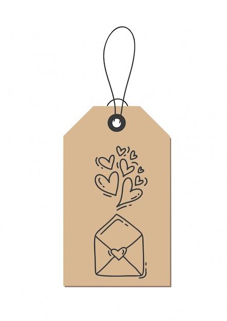A caligrafia da monoline floresce corações e envelope sobre o amor na etiqueta de kraft. Vetor Premium