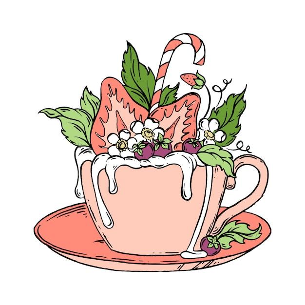 A caneca de chocolate quente com morangos entrega a ilustração desenhada. Vetor Premium