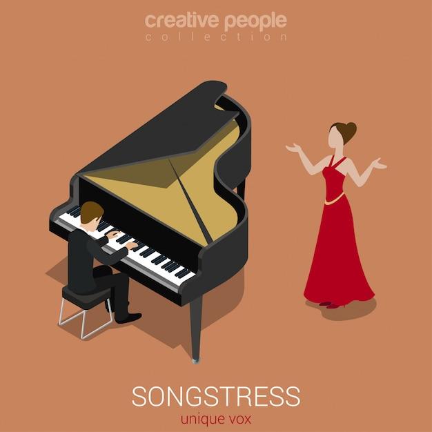 A cantora solo de cantora canta para ilustração em vetor isométrica de acompanhamento de piano de cauda. Vetor grátis