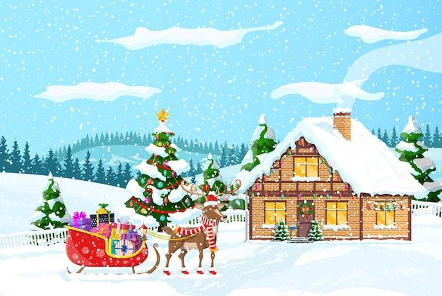 A casa suburbana cobriu a neve. edifício no ornamento do feriado. árvore da paisagem de natal, renas do papai noel. Vetor Premium