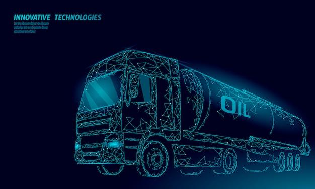 A cisterna 3d da estrada do caminhão de óleo rende baixo poli. tanque de diesel da indústria de financiamento de petróleo combustível. cilindro veículo grande carga gasolina logística negócios econômicos linha poligonal ilustração em vetor Vetor Premium