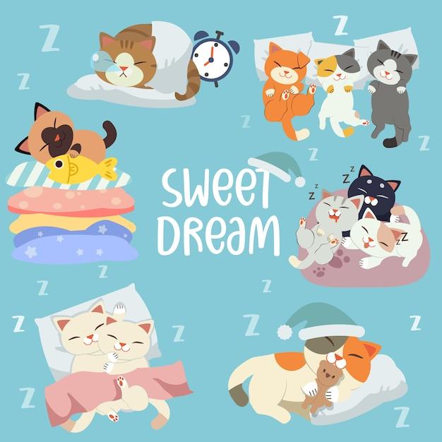 A coleção de caráter de gato que dorme Vetor Premium