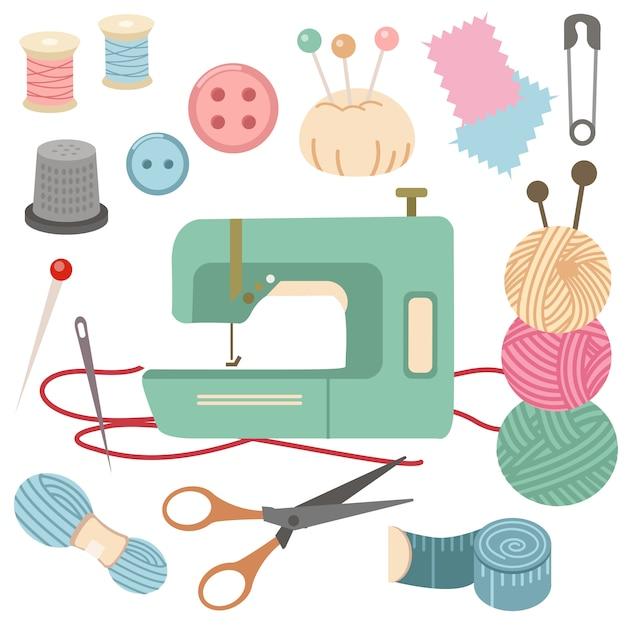 A coleção de conjunto de kit de costura. Vetor Premium