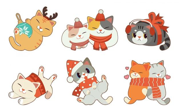 A coleção de gato fofo com tema de natal em fundo branco Vetor Premium