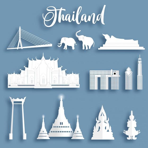 A coleção de marcos famosos de tailândia no papel cortou a ilustração do vetor do estilo. Vetor Premium