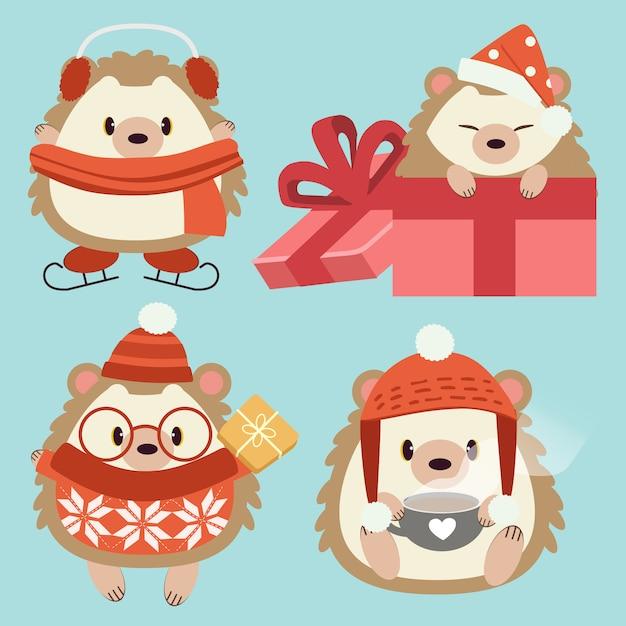 A coleção de personagem de ouriço fofo usar um acessório no conjunto de tema de natal. Vetor Premium