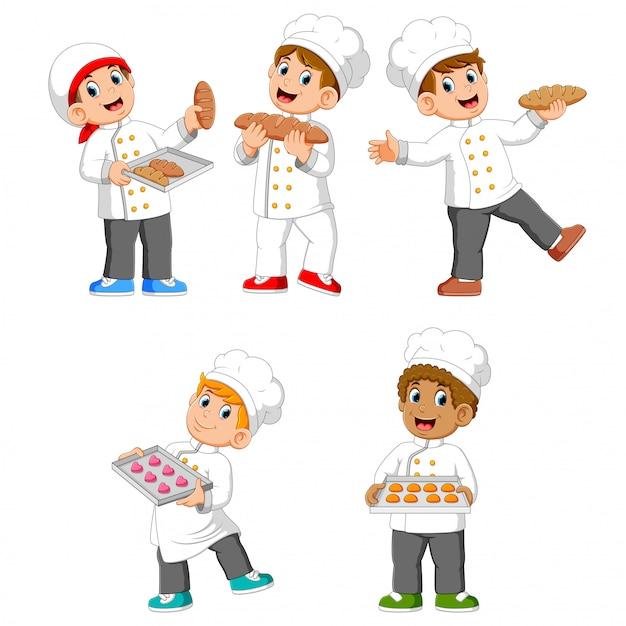 A coleção do chef está segurando seu pão e biscoitos Vetor Premium