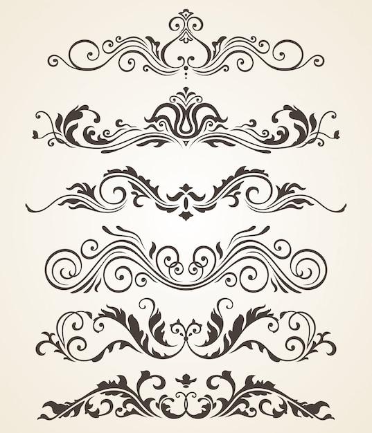 A coleção do estilo do vintage floresce elementos para o projeto. conjunto de vetores Vetor Premium