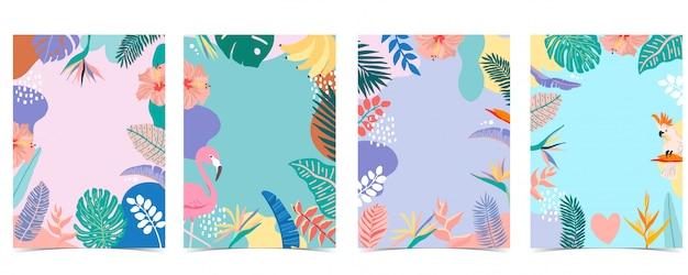 A coleção do fundo do verão ajustou-se com palma, flamingo, flor. Vetor Premium