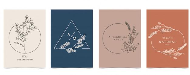 A coleção do fundo oculto ajustou-se com alfazema, flor. Vetor Premium
