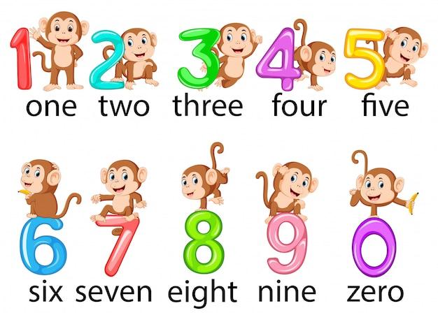A coleção do número com o macaco ao lado Vetor Premium
