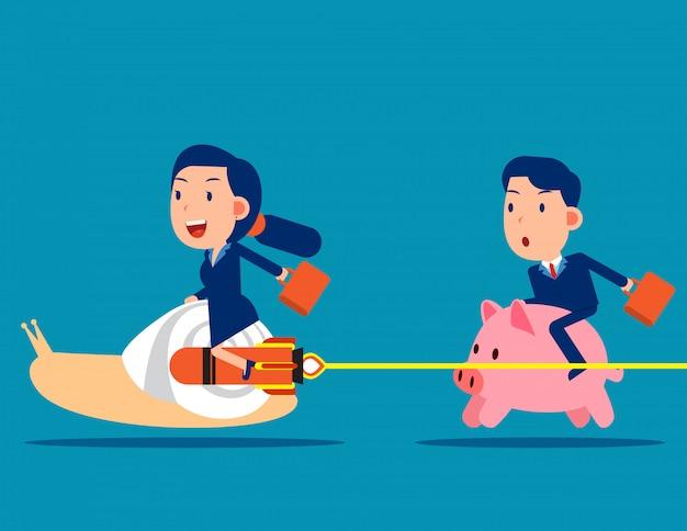 A competição entre o cofrinho e o caracol de um colega Vetor Premium