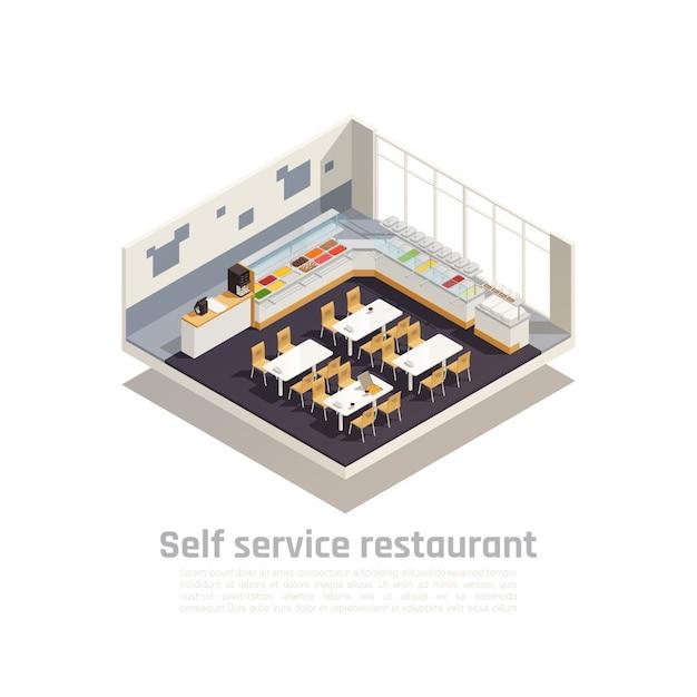 A composição isométrica do restaurante self-service apresentou o interior do restaurante acolhedor de fast-food Vetor grátis
