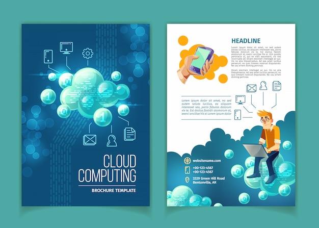 A computação da nuvem, armazenamento de dados global, tecnologias modernas do internet vector a ilustração do conceito. Vetor grátis