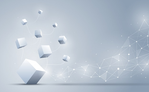 A conexão de cubos 3d com abstrato geométrico poligonal com pontos e linhas de conexão. abstrato. blockchain e conceito de big data. ilustração. Vetor Premium