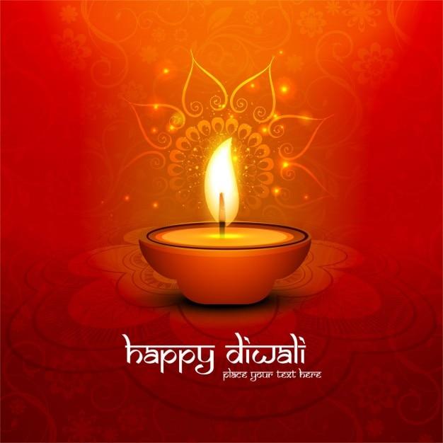 A cor vermelha diwali feliz fundo brilhante Vetor grátis