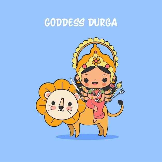 A deusa fofa durga com desenho de leão para o festival navratri Vetor Premium