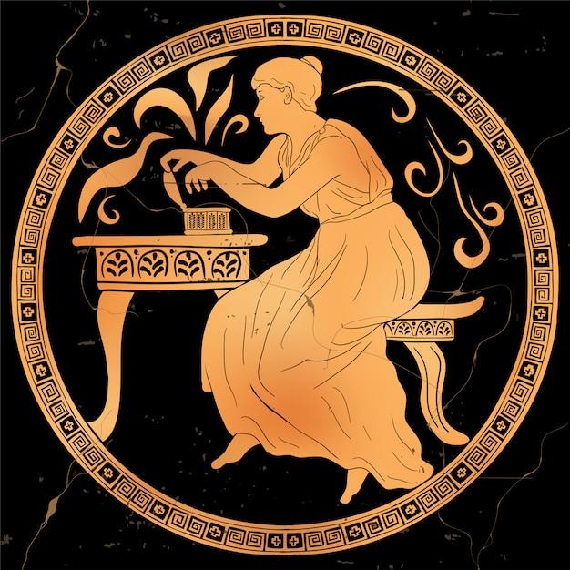 A deusa grega antiga pandora abre uma caixa e libera poderes do mal. antiga trama mitológica. Vetor Premium