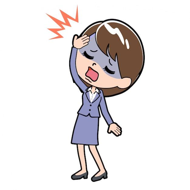 A dor de cabeça de mulher de negócios de linha Vetor Premium